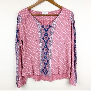 Lucky Brand Mixed Print Boho Peasant Top Pink